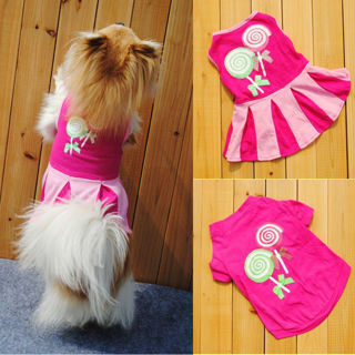 [GIN FOR FREE SHIPPING] Candy Pattern Puppy Dog Doggie Apparel Clothes T-shirt Vest Dress