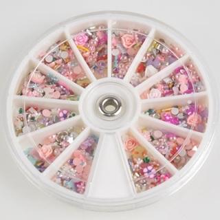 2Pcs 1200PCs Mixed Nail Art Tips Glitters Rhinestones Slice Decoration Manicure Wheel