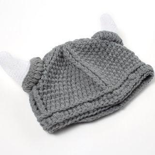 [GIN FOR FREE SHIPPING] Newborn Baby Kids Viking Hat Crochet Horns Cap Knitted Beanie