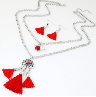 Fashion Hot Sale Silver Chain Charm Bohemian Tassel Multilayer Jewelry Sets