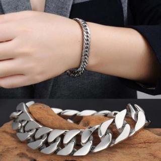 Men's Silver Stainless Steel Chain Link Bracelet Wristband Bangle Jewelry Retro