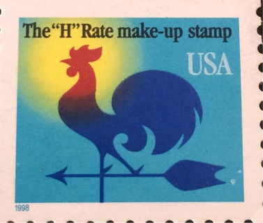 1998 H Rate Make Up USED Rooster Stamp