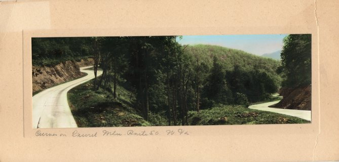 Genuine Original Hand Painted Photo: Mounted Curve on Laurel Mountain Route 50 WV