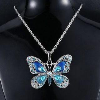 Colorful Silver Butterfly Crystal Choker Pendant Necklace Sweater Chains