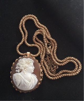 Real Carved shell Cameo necklace