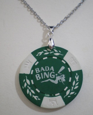 Sopranos BADA BING Poker Chip Pendant With Necklace New