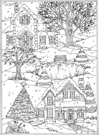 ❄(New) Scenic Snowy Village Coloring Sheets ❄