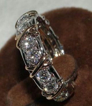 Women Handmade Jewelry Diamonique CZ 925 Silver Anniversary Wedding Band Ring