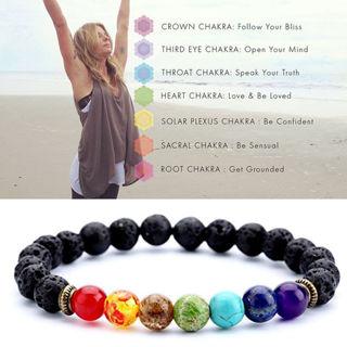 7 Chakra Healing Beaded Bracelet Natural Lava Stone