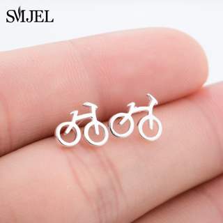 SMJEL Fashion Sliver Color Cute Tiny Bike Bicycle Stud Earrings For Women Best Friend Gift Ear Biker
