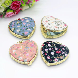 Women Makeup Compact Pocket Floral Mirrors Portable Double-side Folding Mirror