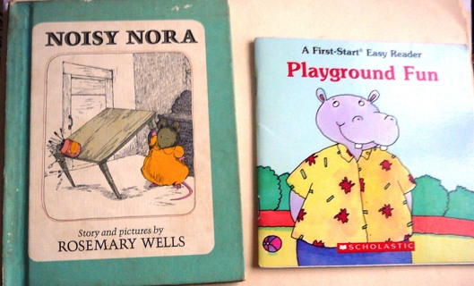 2 Small Books..Vintage Noisy Nora and Playground Fun...
