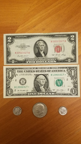 Currency Lot: Silver, Red Seal, Star Note, Half Dollar, Mercury Dime, And MORE!