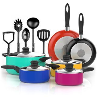Vremi 15 Piece Nonstick Color Pop Cookware Set with Cooking Utensils