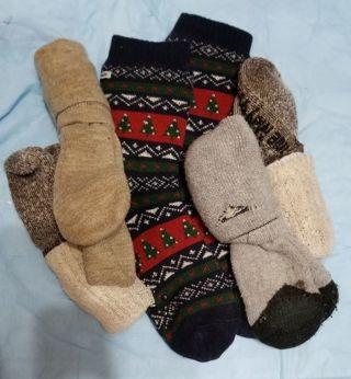 2 pr.Time May Tell Men' Merino Wool Hiking Cushion Socks and 3 more pairs
