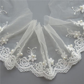 1YD Mesh Flower Pearl Lace Trim Wedding Net Ribbon Embroidered Applique Sewing