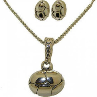NWT jewelry set 3pc omega earring pendant chain wh