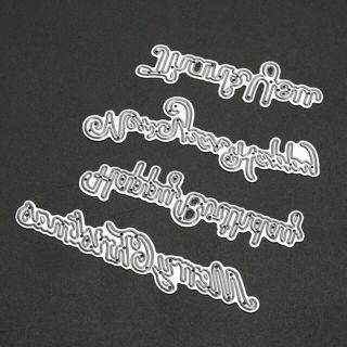 4pcs Metal Cutting Dies Stencil Happy Birthday Merry Christmas Letters Scrapbooking Dies DIY