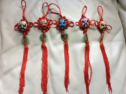 CHINESE OPERA MASK Set of 5 charms