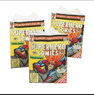 """❤✨❤✨❤6 BRAND NEW RARE EXTRA LARGE """"COMIC BOOK"""" THEME PLASTIC BAGS WITH HANDLES❤✨❤✨❤GIN=12!"""