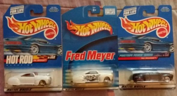 Lot of 3 Hot Wheels Tail Dragger Hot Rod Magazine Fred Meyer & Pinstripe