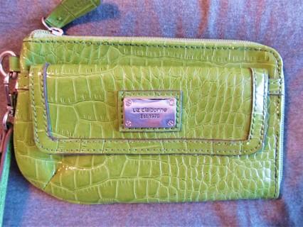 Liz Claiborne Wristlet Wallet in Green Snake Skin Embossed