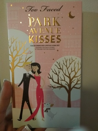 Too Faced Park Avenue kisses three lipsticks at a makeup bag