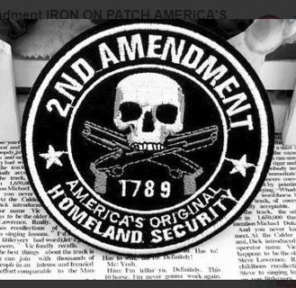1 NEW 2nd Amendment IRON ON PATCH AMERICA'S ORIGINAL Domestic Round Patch Skull Guns FREE SHIPPING