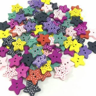 100 PCs Multi-colored Star Wood Sewing Button Scrapbooking Knopf Bouton 2 Holes