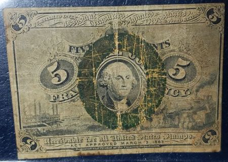 1863 Fractional Currency 5 Cents 2nd Issue