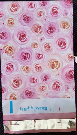 ~~BN 5 PINK POLY BAGS w/pink ROSE'S 6 x 9~~