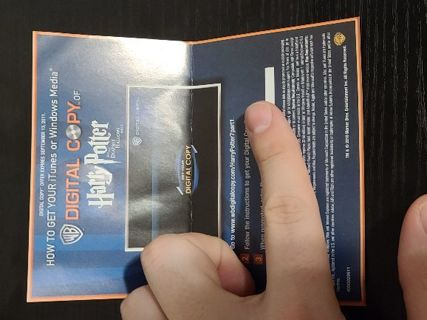 Harry Potter and the Deathly Hallows Part 1 Digital code Vudu or Movies Anywhere.