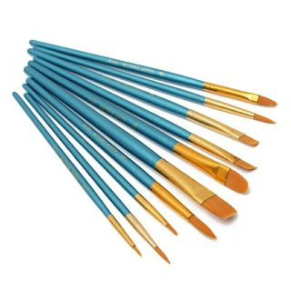 10Pcs/Set Watercolor Gouache Paint Brushes Different Shape Round Pointed Painting Brush