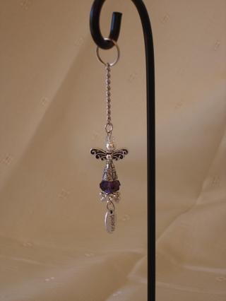 Crystal angel charm/keychain - purple
