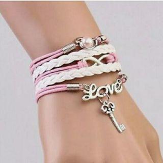 NEW Jewelry Women's Fashion Leather Cute Infinity Charm Bracelet