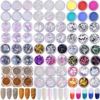 6Boxes Nail Art Glitter Powder 3D Holographic Chameleon Sequin Flakes Manicure