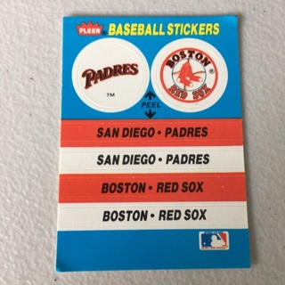 1987 Fleer - Team Stickers Inserts #SPBRPP Padres, Red Sox, Pirates***Damaged Card