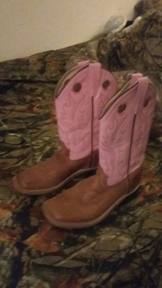 《☆OLD WEST LEATHER PINK AND BROWN GIRLS BOOTS GIN AVAIL AND FREE SHIPPING TO US☆》