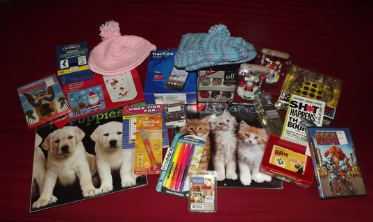 HUGE BOX OF CHRITSMAS GIFTS You Get Them All Smartphone Perfume DVD's Crochet Hat & More L@@K