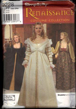 Free: UNCUT Simplicity 9228 Plus Size Medieval/Renaissance ...