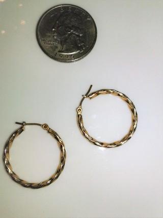 ~10k Israel Twisted Yellow Gold Hoop Earrings~
