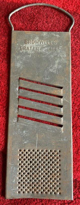 Vintage Bromwell's Flat Metal Grater Slicer - Retro Kitchen Decor - See Pics