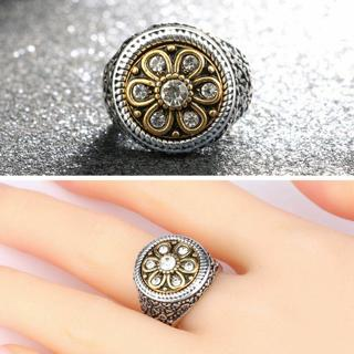 Turkish Flower Finger Rings Crystal Rhinestone Punk Style Jewelry Carved Totem