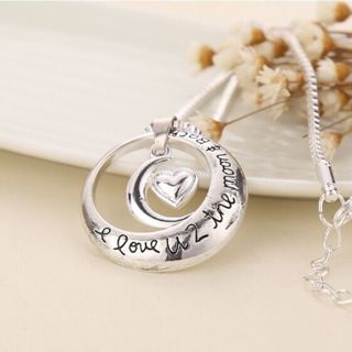 I Love You To The Moon and Back Heart Moon Pendant Necklace Silver Tone Chain