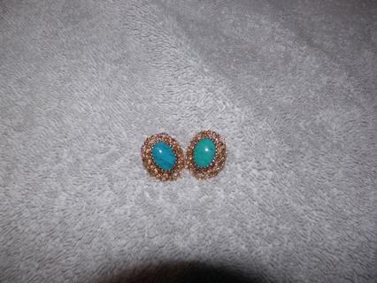 """Filigree Turquoise Pierced earrings 1"""""""