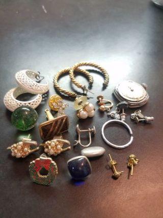 Vintage jewelry watch earring marble etc junk drawer Estate lot