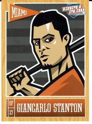 Giancarlo Stanton Miami Marlins 2014 Triple Play