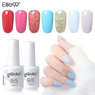 Elite99 Long Lasting Nail Polish 15ml Pure Color Nail Gel Lacquer Varnish Soak Offf UV LED Manicur