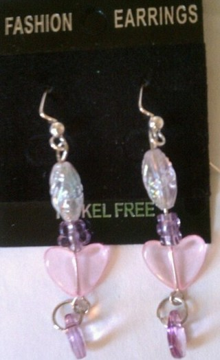 handcrafted pink heart earrings