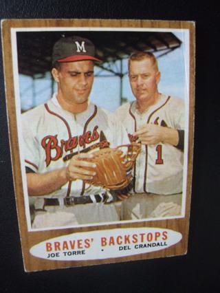 1962 TOPPS EXMT BASEBALL CARD NO.351 - BRAVES BACKSTOPS - BRAVES